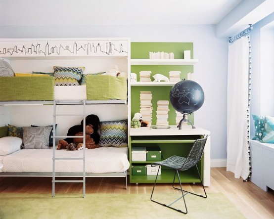 33-Cool-Shared-Kids-Room-Ideas-with-white-wall-and-green-bed-pillow-blanket-and-table-chair-globe-and-towel-and-carpet-with-window-curtain-and-hardwood-flooring.jpg