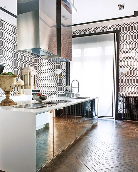mirrored-kitchen-cabinets-herringbone-floors-graphic-wallpaper.jpg