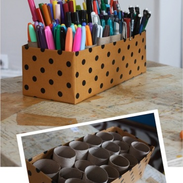 Genius-Craft-Ideas-Easy-marker-caddy-made-out-of-toiet-paper-rolls-and-a-shoebox.