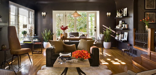 modern-brown-living-room-shiny-walls
